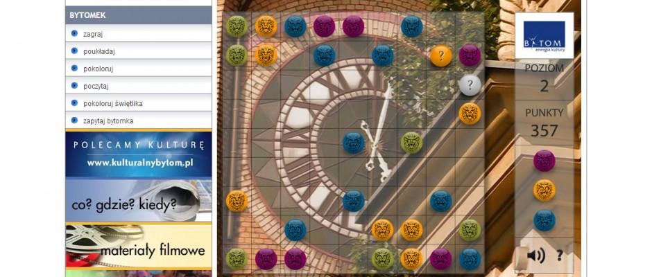 Gra opublikowana na oficjalnej stronie miasta Bytom. Na każdym kolejnym poziomie gry, w tle pojawiają się piękne zdjęcia, ukazujące miasto.