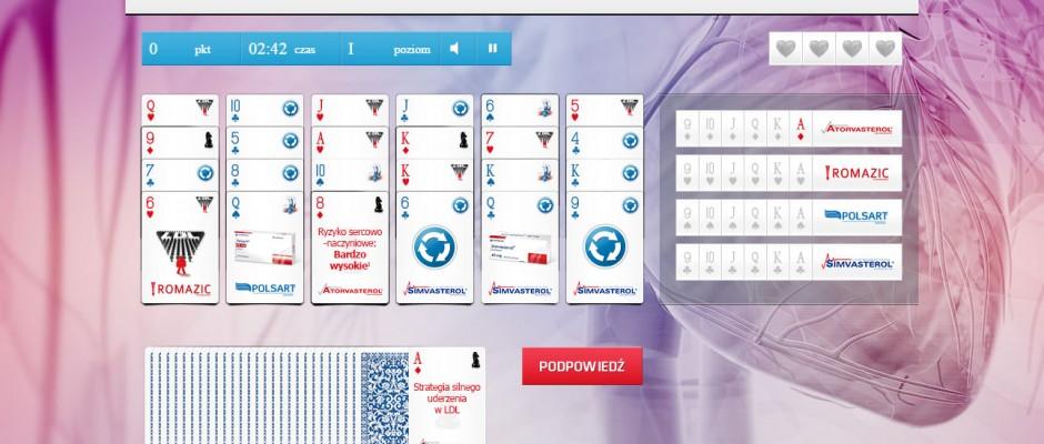 Gra karciana typu Pasjans z dwoma układami plansz oraz quizem, dzięki któremu można zdobyć większą liczbę punktów. Gra wykonana w html5 – wykorzystuje system zapisywania wyników, rejestracji i logowania.